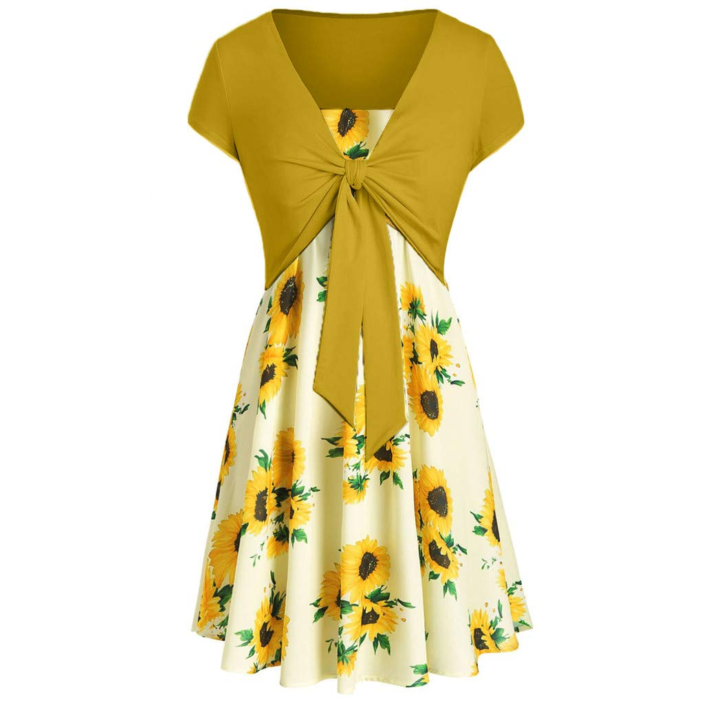 Women Swing Floral Print A line Vintage Mini Dress with Tie Front Cross Crop T-Shirt