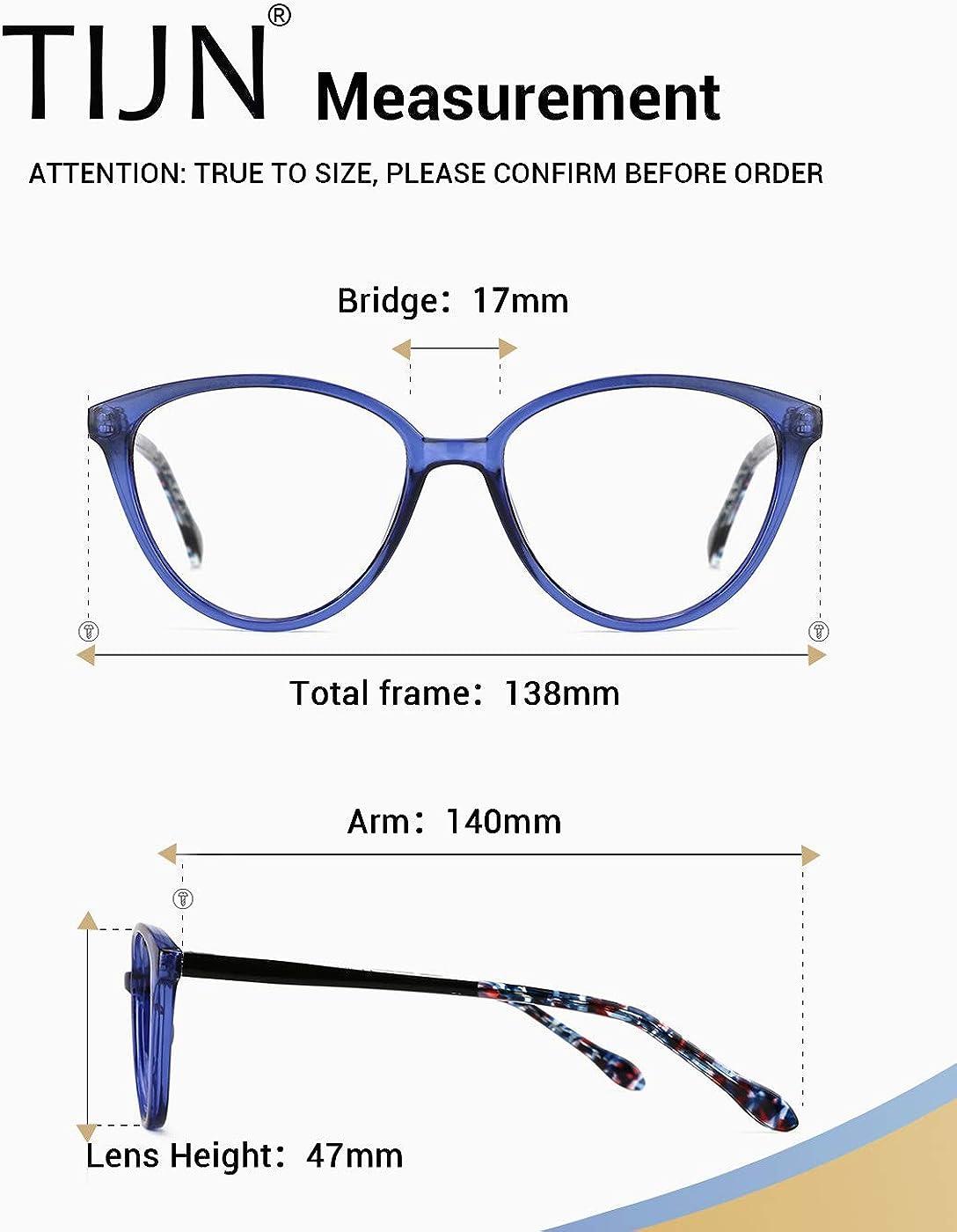 TIJN Blue Light Blocking Glasses Stylish Cat Eye Frame UV Filter Computer Glasses for Men Women