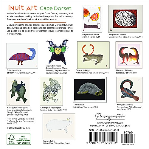 Cape Dorset Wall Calendar 2016 Inuit Art