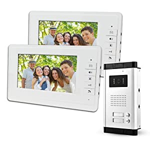 """LIBO 7"""" Wired Video Doorbell Door Phone System 2 Monitors with 1 IR Camera, Two Call Buttons, Night Vision, 800x480 High Resolution, Can Control 2 Housed for Multi Apartment/Families"""