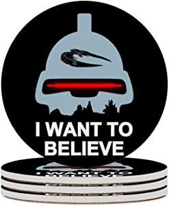 Round Ceramic Stone Coaster Set of 4 Believe in Toasters Battlestar Galactica Round Coaster Drink Absorption Coaster with Cork Base (3.9 inches)
