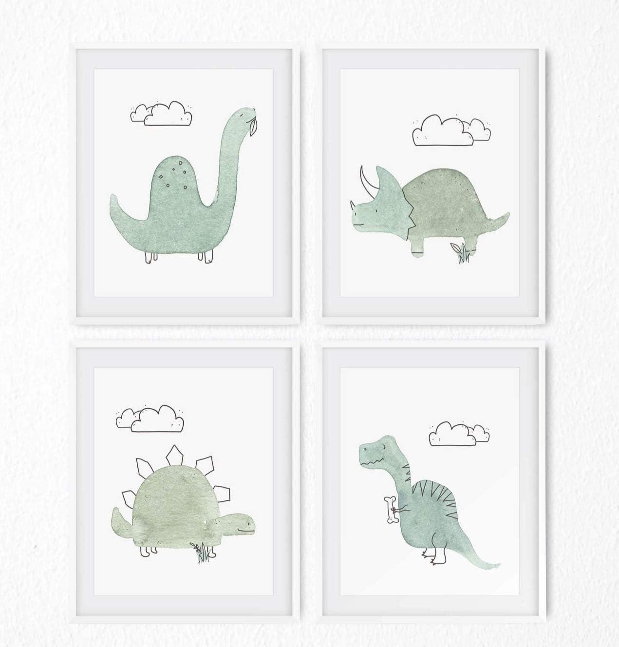 Dinosaur Nursery Decor Set of 4 Wall Prints - Baby Dinosaur Decor for Boys & Girls - Cute Dino Bedroom or Nursery Decorations for Baby Boy & Toddler - 8x10 Inch Unframed Watercolor Art - Baby Shower