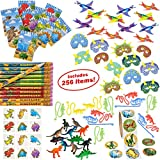 (US) Dinosaur Party Supplies for Boys Girls 328 Piece | Dinosaur Birthday Decorations and Kids Party Favors for 12 Children | Toys, Stickers, Figures, Masks, Tattoos, Stampers | Mr. E=mc² Birthday Supplies