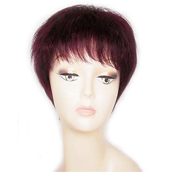 TT vino la moda Sra peluca del pelo rojo corto pelucas de cabello natural