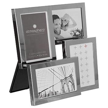 Portarretratos collage de colgar o de posar - Acero cromado - Capacidad 4 fotos: Amazon.es: Hogar