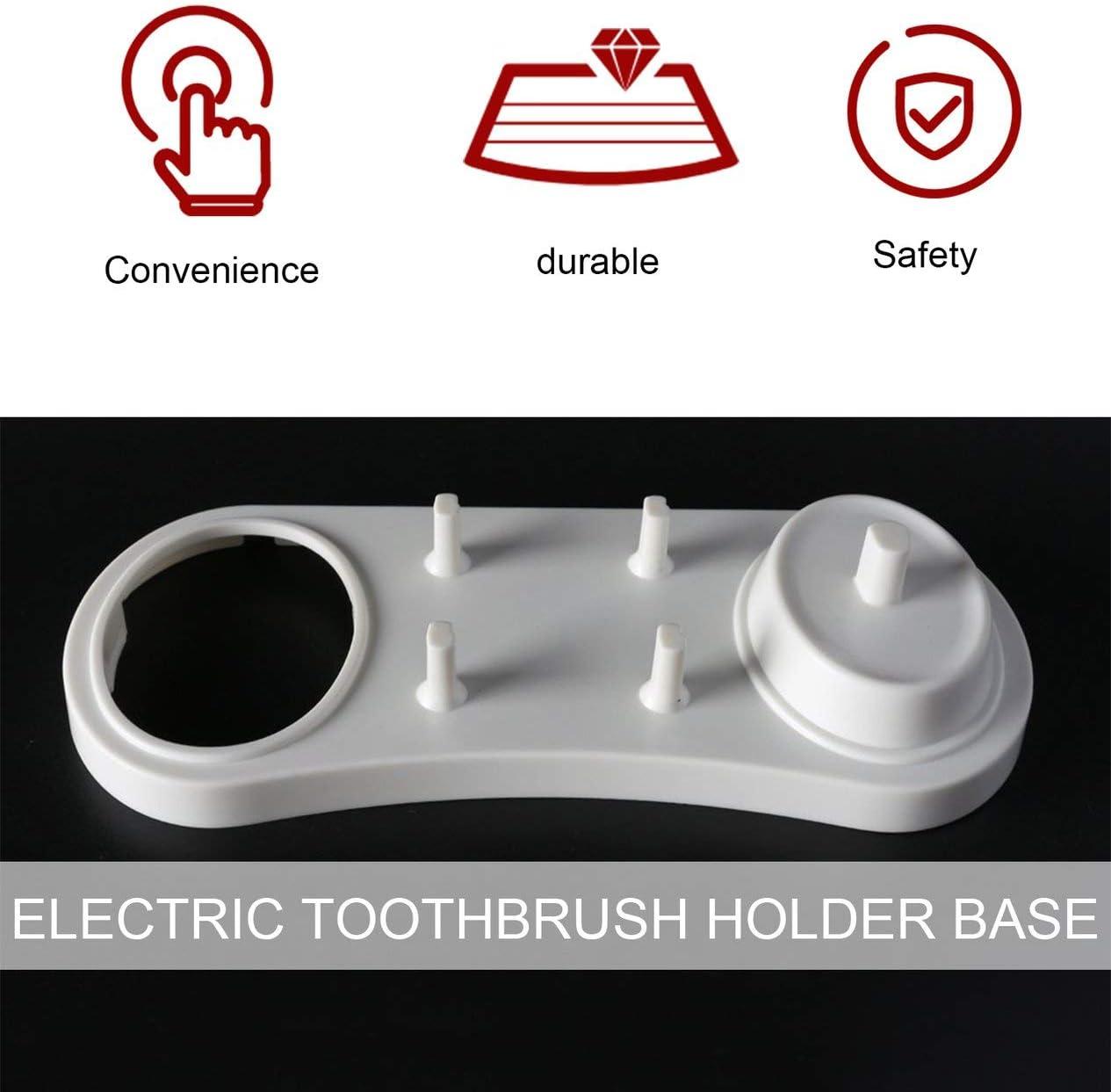 BCVBFGCXVB Staffa Porta spazzolino Elettrico Bianco 2 Base Supporto Stander spazzolino Base Testina 4 spazzolini con 1 Foro Caricatore Bianco