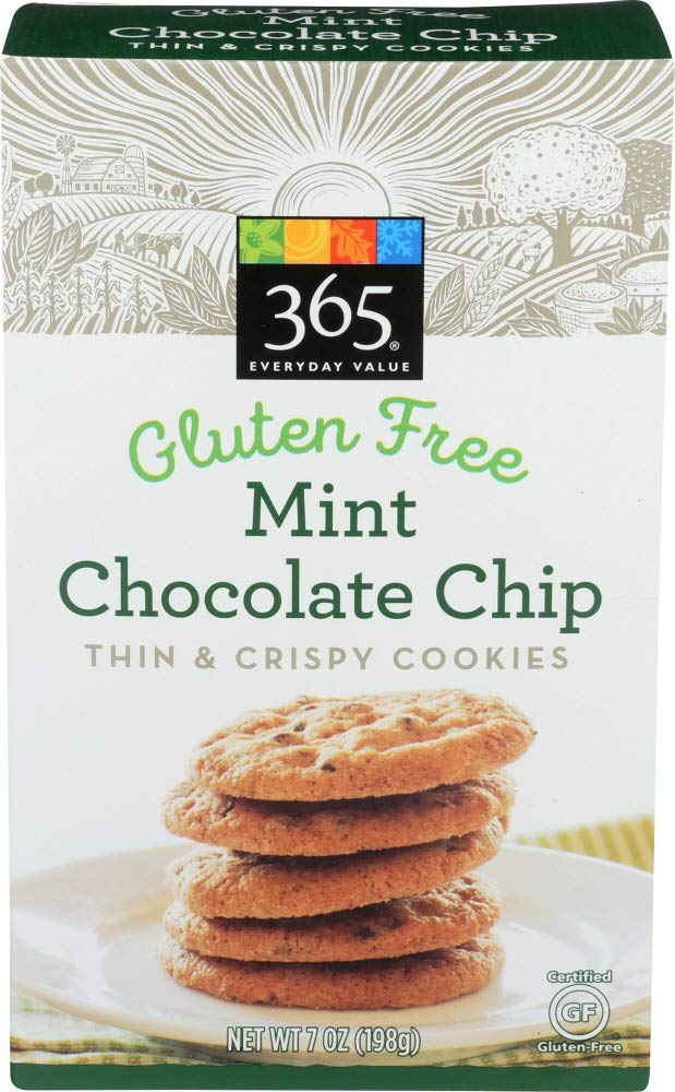 365 Everyday Value, Gluten Free Mint Chocolate Chip Thin & Crispy Cookies, 7 Ounce