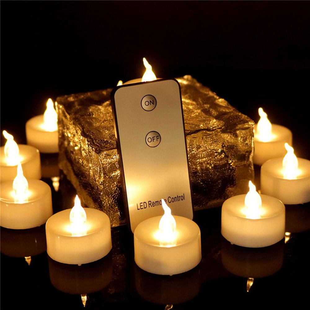 96 Pack, Led Home Decorative Candle With Remote Control Glitter Warm White Flameless Electric Battery Powered Long Lasting Christmas Halloween Pumpkin Birthday Candle Romantic Tealight Decor , 1012R