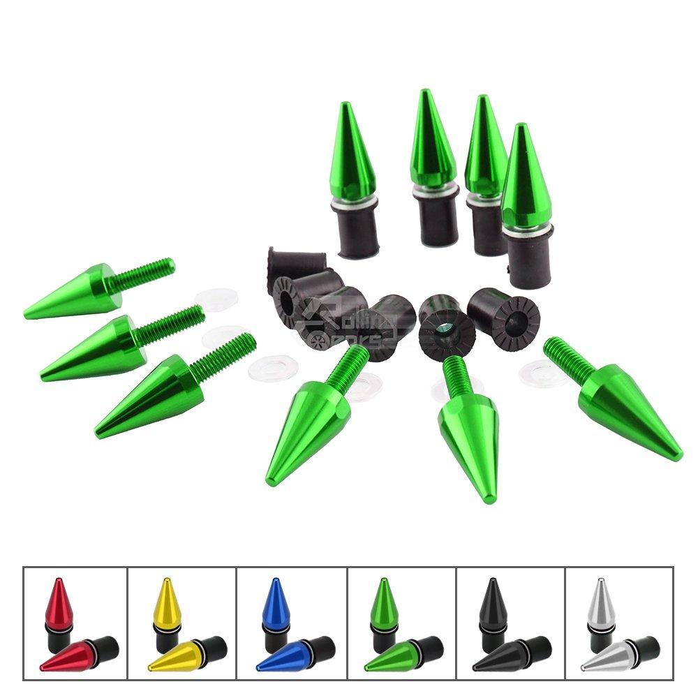 Spike Motorcycle Fairing Bolts/ Windshield Screws/ Windscreen Bolts, 10 Piece (Green)