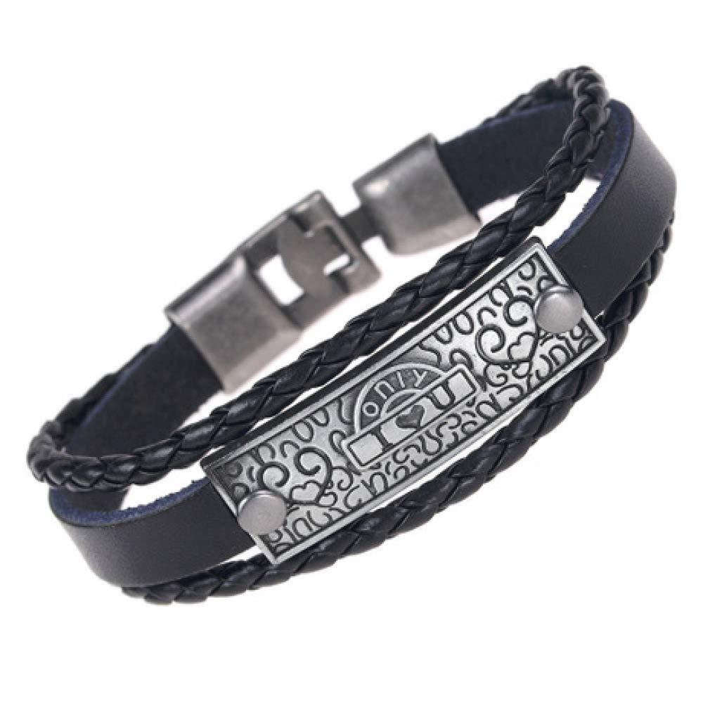 Letter//Scripture//Alloy Buckle//Leather Bracelet Bracelet 21cm yayoushen Mens Bracelet