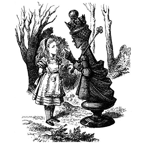 Alice and the White Queen - Pen and Ink Style - Wall Decal - 28