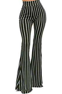 bright in luster best loved buy popular High Waist Stretch Vertical Striped Long Bottoms Pants for ...