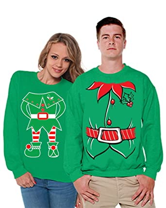 f625a3a797 Awkward Styles Christmas Couple Elf Sweater Ugly Christmas Sweater for Couples  Christmas Couple Gifts at Amazon Men's Clothing store: