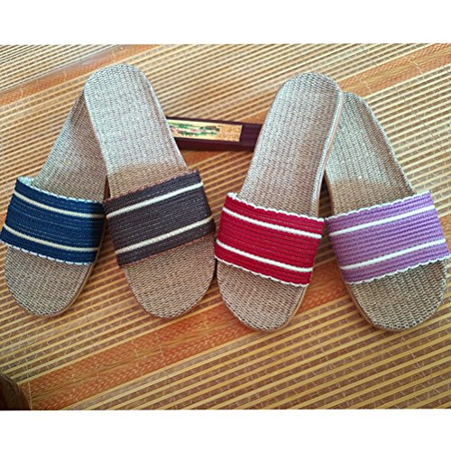 Skidproof Women Shoes Sandals Goal for Linen Indoor Wind Beach Indoor Men Outdoor Slippers Summer Brown House Slippers 6AH17