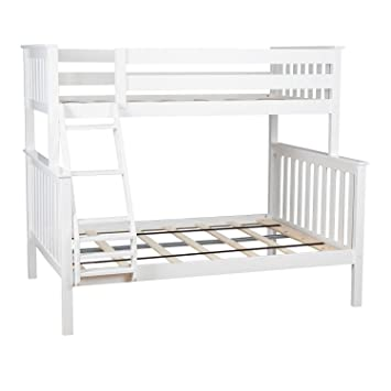 Amazon Com Max Lily Solid Wood Twin Over Full Bunk Bed White