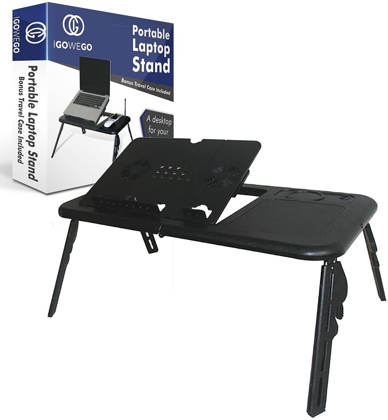 Portable Laptop Table - Stand Up Computer Desk – Create a Better Work Space With Adjustable Height and Tilt – Use Sitting or Standing - Quiet Cooling Fan – Lightweight Foldable Set With Bonus Case