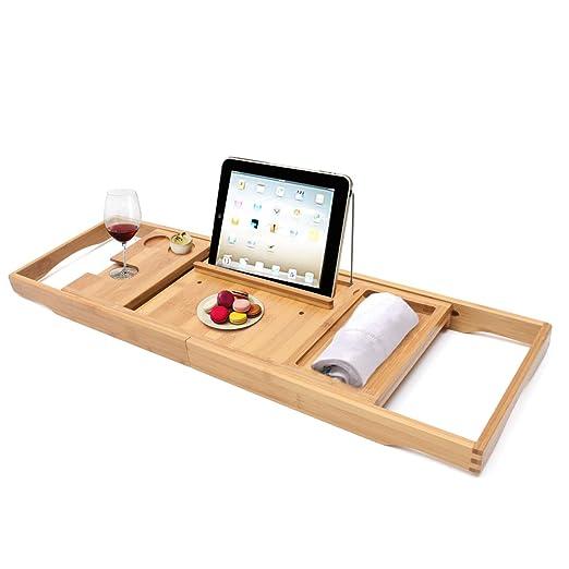 Bandeja Extensible de bamb/ú con Soporte para Libro o Tablet y para Copa Navaris Bandeja para ba/ñera de Madera Ajustable a la ba/ñera