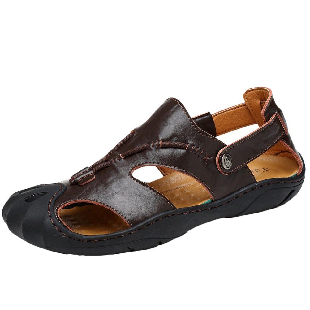 MatchLife Herren Leder Sandalen Geschlossene Zehe Comfy Schuhe Mode Outdoor Sommer Strand Pantolette Braun