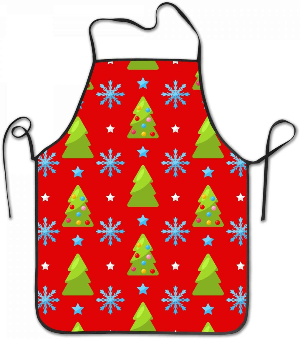 Amazon Com Sara Nell Apron Christmas Snowflakes And Tree Cooking Apron Kitchen Apron Lock Edge Waterproof Durable String Adjustable Easy Care Aprons For Women Men Chef Home Kitchen