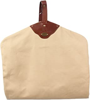 product image for Garment Bag   Khaki   Cotton   Canvas   Leather Trim   Suit Carrier   Made in USA   Col Littleton   Gift Idea