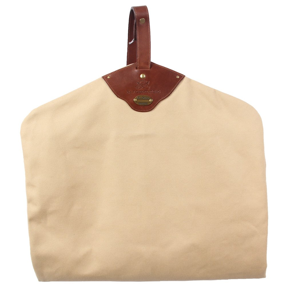Garment Bag Khaki Cotton Canvas with Leather Trim Suit Carrier USA Made No. 7