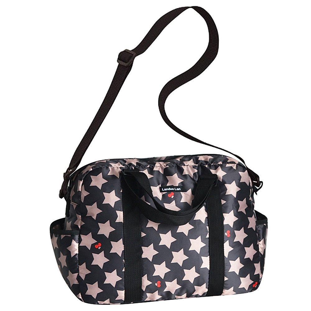 正規激安 Landuo Women Landuo 's Baby Diaper Nappy ブラック Bag Travel Diaper Largeポリエステル防水 B00OLA51K4 ブラック ブラック, タマツクリグン:cd624444 --- arianechie.dominiotemporario.com