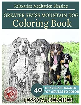Amazon GREATER SWISS MOUNTAIN DOG Coloring Book For Adults Relaxation Meditation Blessing 40 Grayscale Images Animal Sketch Books