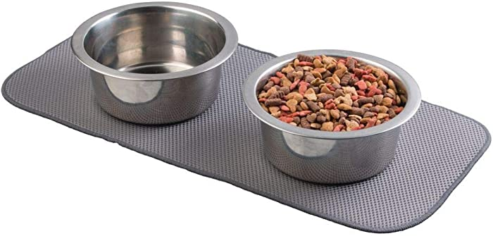 mDesign Premium Quality Microfiber Polyester Pet Food and Water Bowl Feeding Mat for Cats - Ultra Absorbent Reversible Placemat - Folds for Compact Storage - Small - Pewter Gray/Ivory