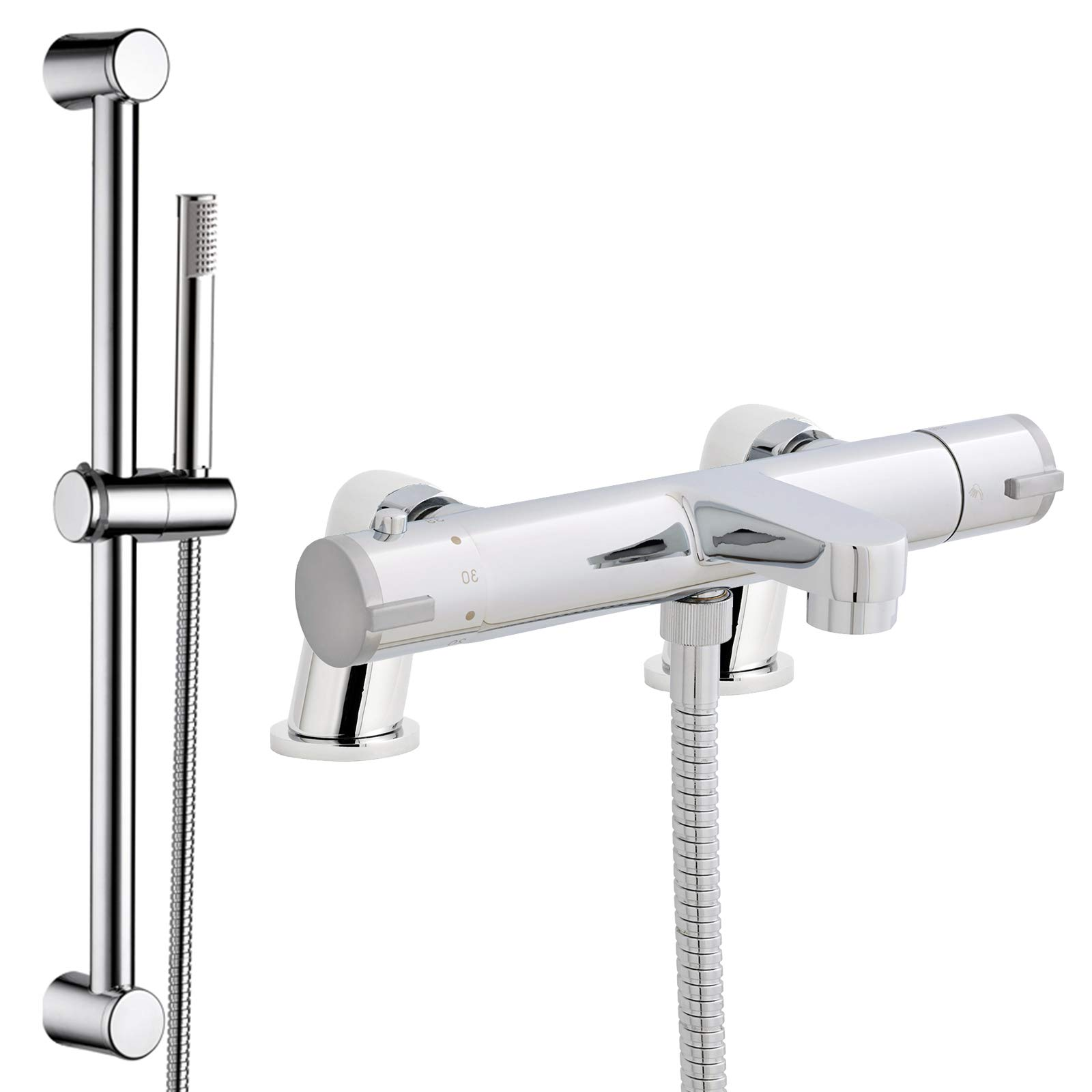 Chrome Thermostatic Modern Bath Shower Mixer Tap with Chrome Shower Rail Kit *E