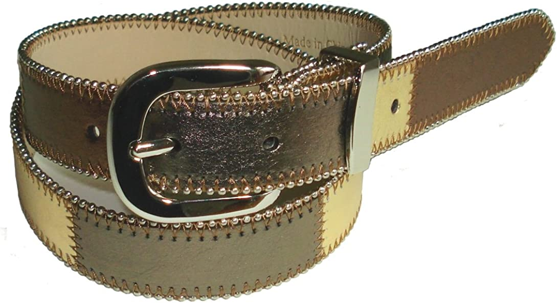 BeltsandStuds Women Designer Brown Skinny Leather Belt with Silver Buckle