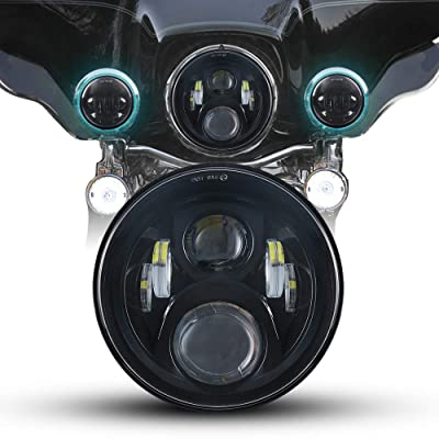 "High Brightest 7"" LED Headlight For Motorcycle Projector LED Light Bulb For Jeep Wrangler JK LJ CJ Headlamp (Black): Automotive"