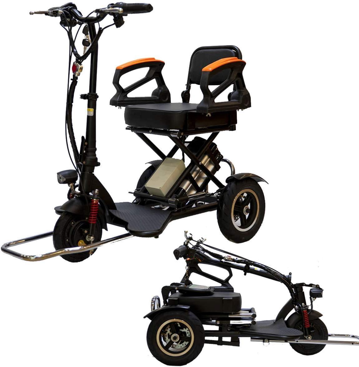 L.HPT Mini Triciclo eléctrico Plegable Scooter eléctrico Adulto Litio portátil para discapacitados Ancianos batería Coche 48V Puede durar 60 km con reposabrazos de Seguridad Negro