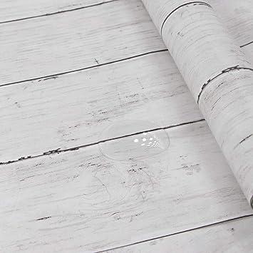 Hode Papier Adhesif Pour Meuble Bois Blanc 45X300cm Autocollant Amovible  Bois Décoratif Film Intérieur Pour Panneau
