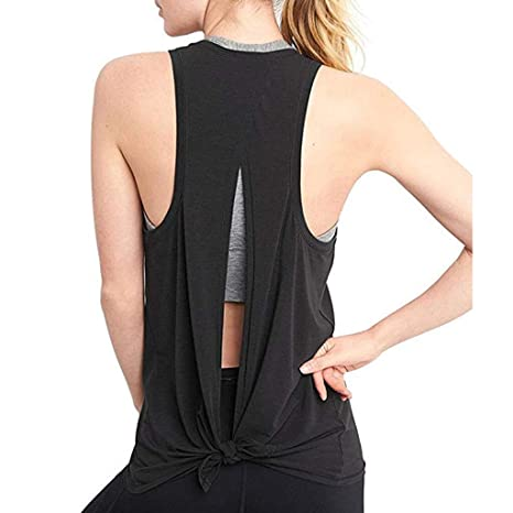 LAOGUAISHOU Mujeres Sexy Espalda Abierta Deporte Sólido Camisas De ...