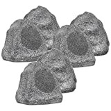 Theater Solutions 6R6G Outdoor Granite 6.5'' Rock 6 Speaker Set for Deck Pool Spa Yard Garden