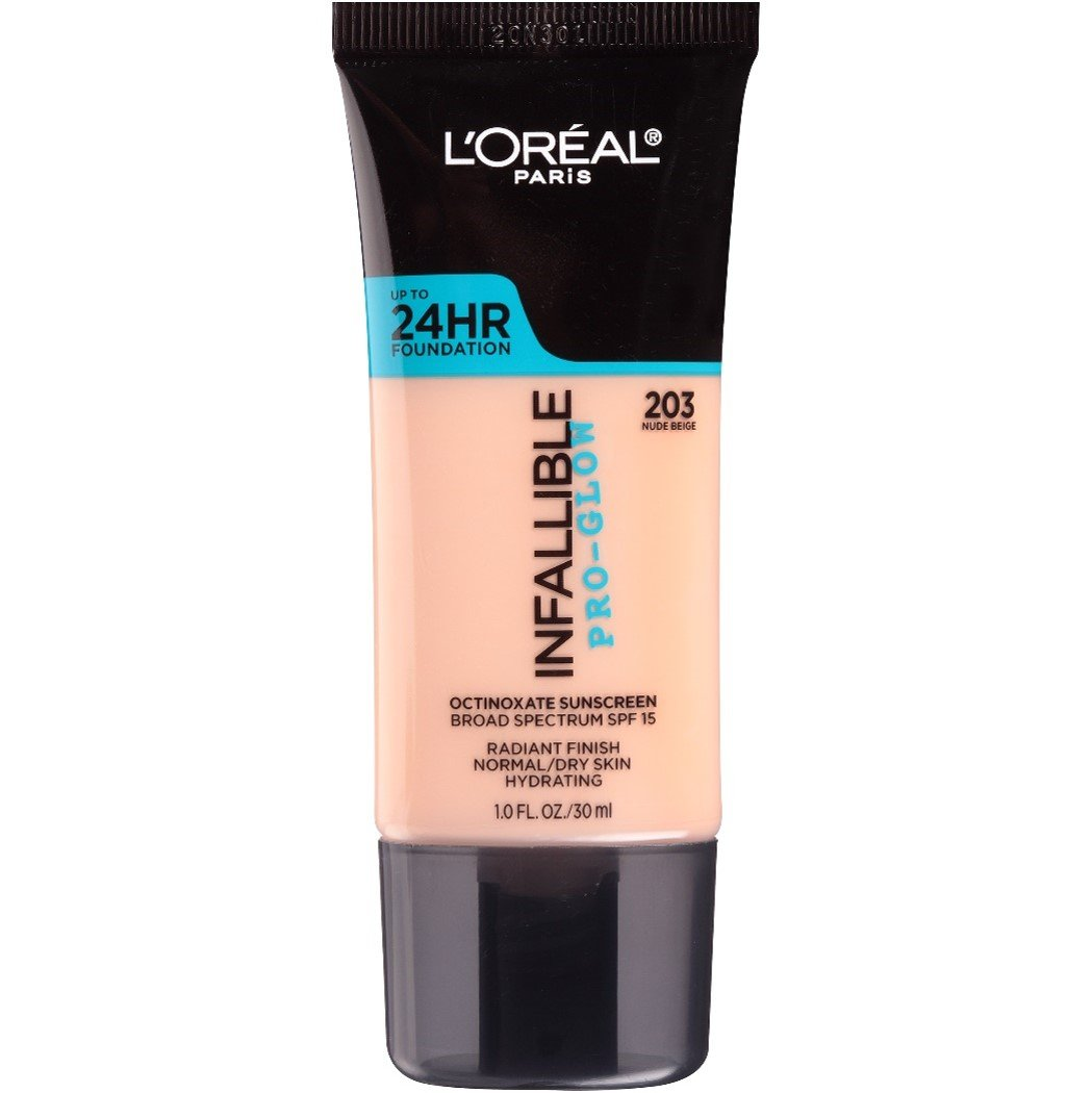 L'Oreal Paris Makeup Infallible Up to 24HR Pro-Glow Foundation, 203 Nude Beige, 1 fl. oz.