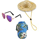 YOAVIP Pet Dog Cat Hawaiian Shirt Straw Hat Summer Camp Sunglass Set of 3