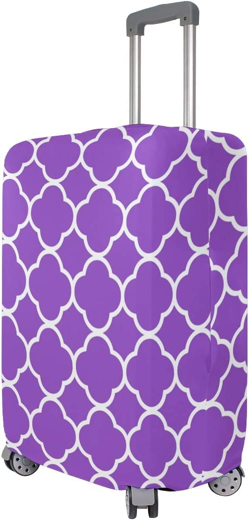 Nanmma Cute 3D Purple Geometric Pattern Luggage Protector Travel Luggage Cover Trolley Case Protective Cover Fits 18-32 Inch