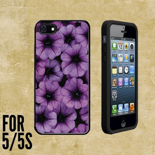 Radiant Orchids Floral Custom made Case/Cover/skin FOR Apple iPhone 5/5S - Black - Rubber Case + FREE SCREEN PROTECTOR ( Ship From CA) (Ship Free Orchids)