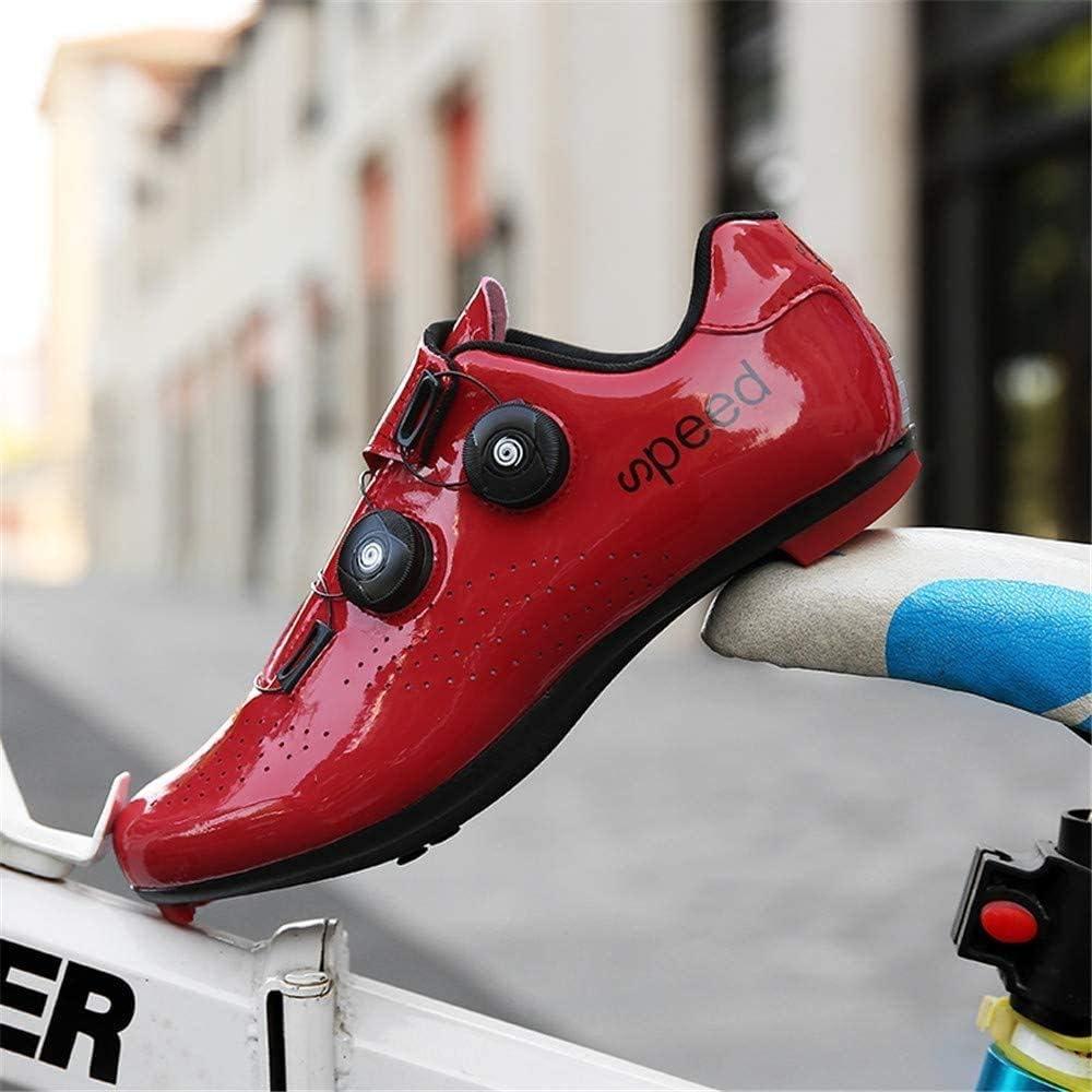 HAOLIN Scarpe da Ciclismo per Adulti Scarpe da Bici da Strada Traspiranti con Ammortizzazione Unisex,Red-36EU