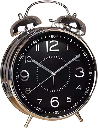Qchengsan 4 Twin Bell Alarm Clock with Stereoscopic Dial, Vintage Classic Analog Clock with Backlight,Battery Operated Travel Clock,Simple Design Beside Desk Alarm Clock Black