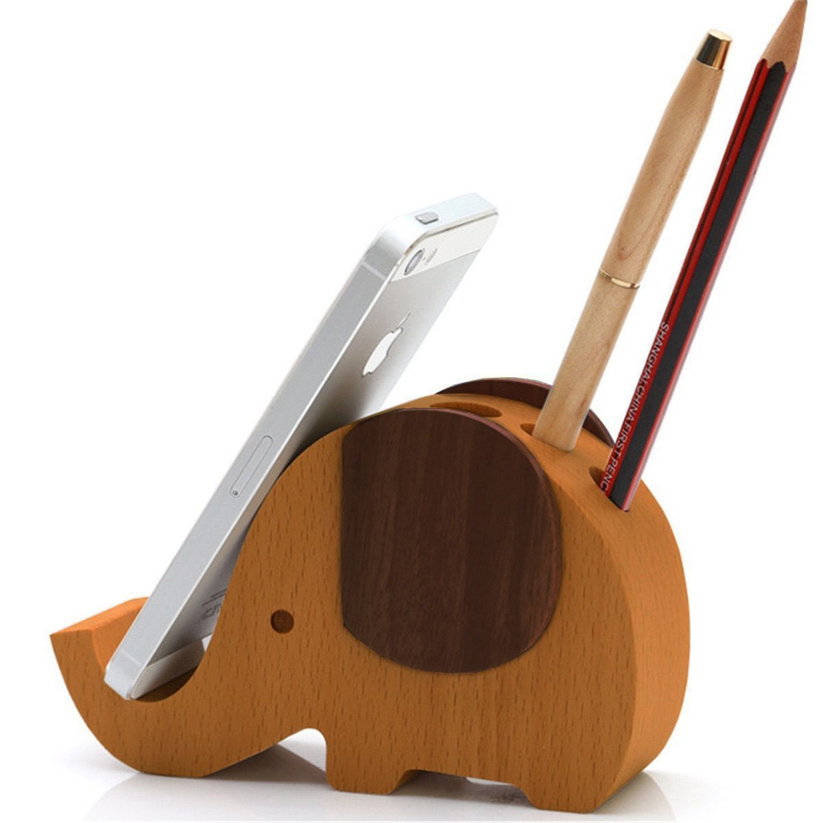 Cell Phone Stand, Wood Elephant Phone Stand Tablet Desk Bracket with Pen Pencil Holder Multifunctional Stationery Organizer (5.2in)