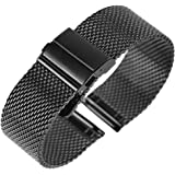 Quick Release Mesh Watch Strap – Stainless Steel Watch Bands Safety Buckle for 18mm 20mm 22mm black/sliver/gold/rose…