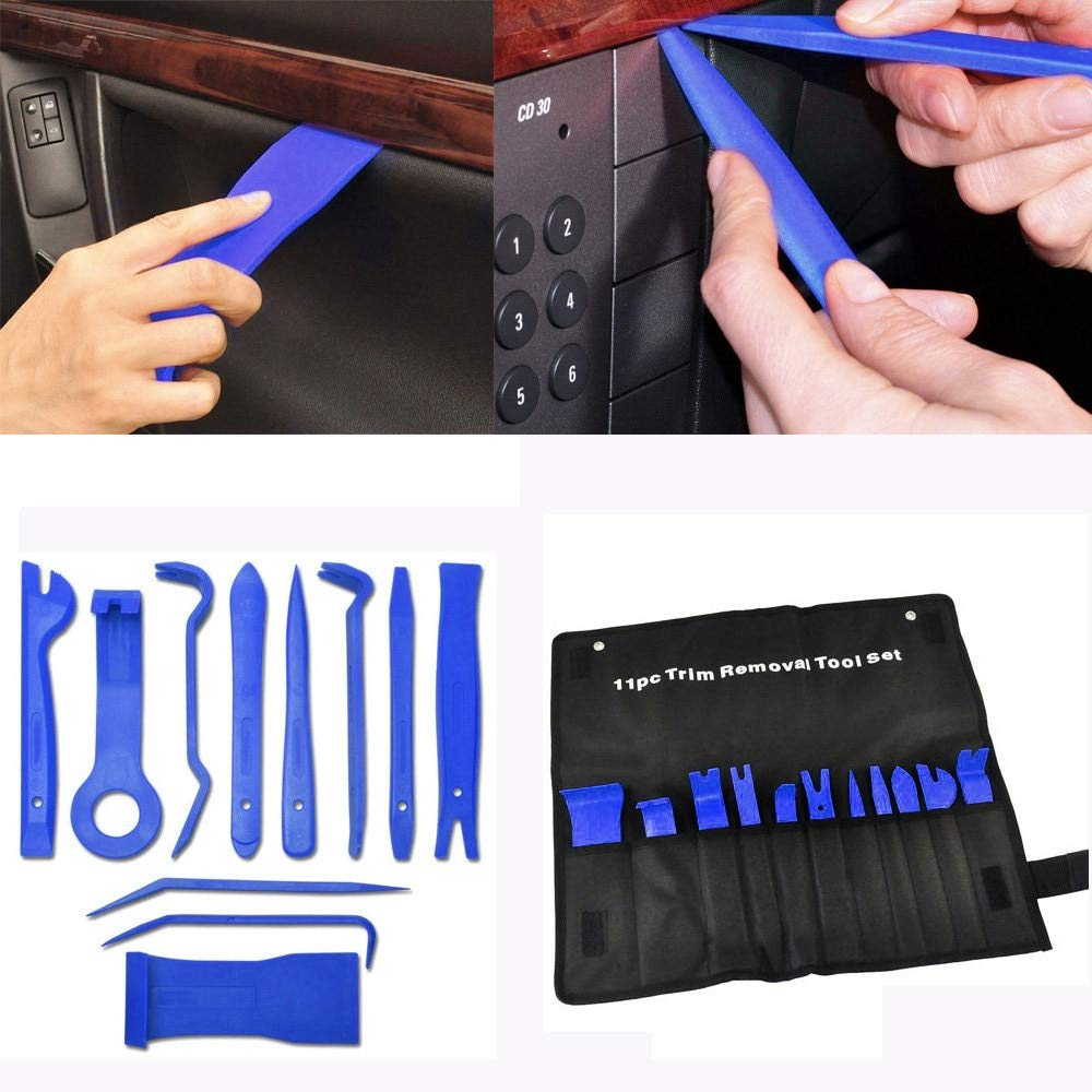 Fastener & Clip 11 Car Trim Door Panel Removal Molding Set Kit Pouch Pry Tool Interior Van DIY - (Color Name: Blue)
