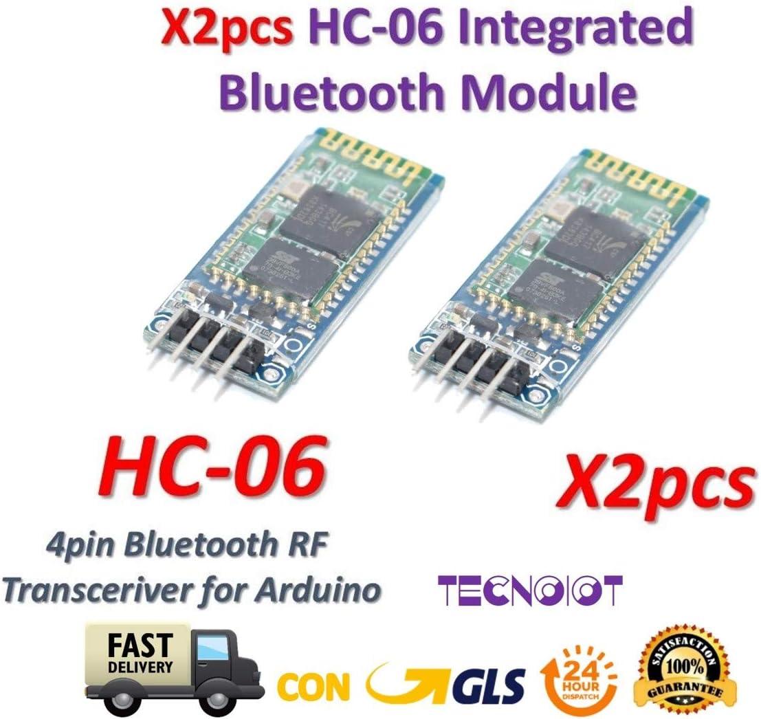 TECNOIOT 2pcs HC-06 HC06 Wireless Bluetooth Module with Slave Base