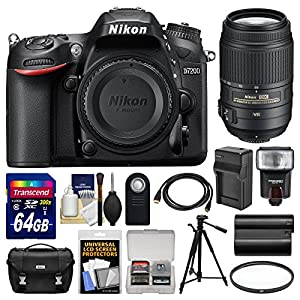 Nikon D7200 Wi-Fi Digital SLR Camera Body with 64GB Card + Case + Flash + Battery/Charger + Tripod + Remote + Kit