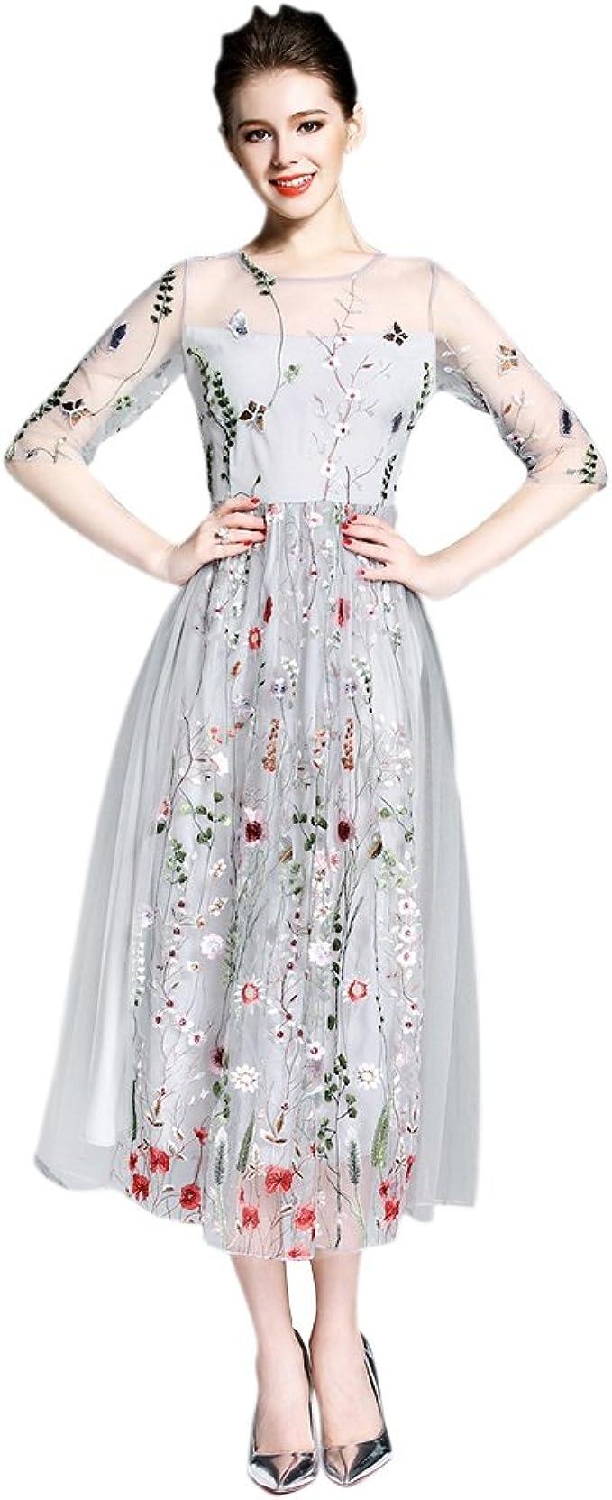 EFINNY Damen floral Boho Kleid Stickerei Strand langes Kleid Mesh  Abendkleider