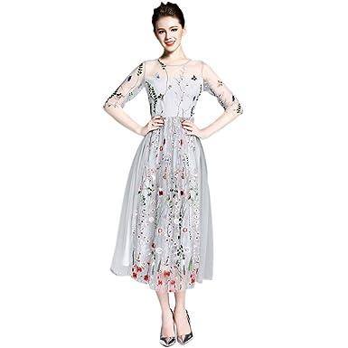 EFINNY Damen floral boho Kleid Stickerei Strand langes Kleid Mesh ...