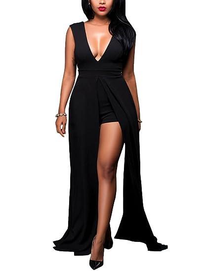 2231243f2e3 Womens Summer Maxi Romper Dresses Deep V-Neck Backless Long Dress Overlay  Rompers Jumpsuit Playsuit