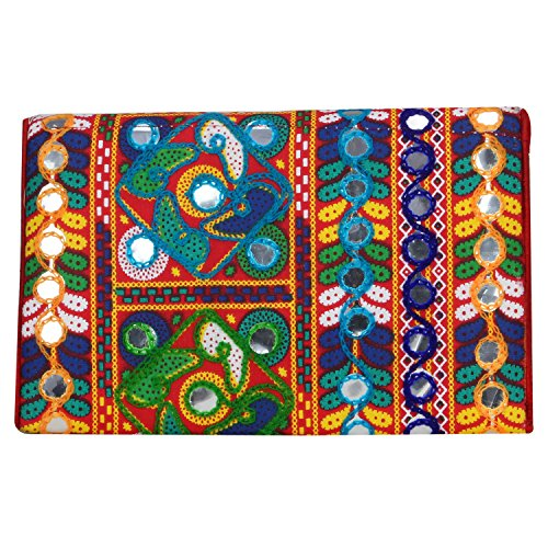 Foldover multicolor jaipuriart nbsp; nbsp; Bag Purse Vibrant Clutch Sling Rajasthani Red 0qw4CRq